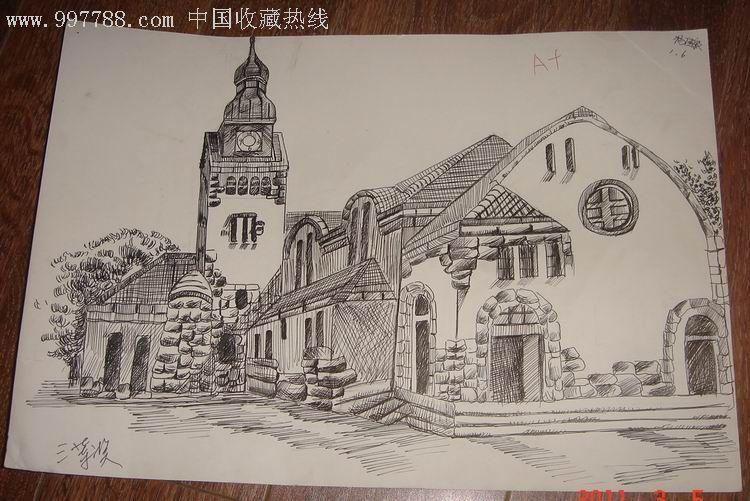 钢笔建筑风景原画稿【青岛老基督教堂】,素描/速写,画