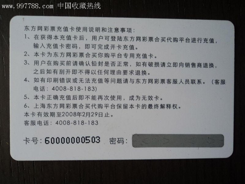 东方网彩票充值卡¥100