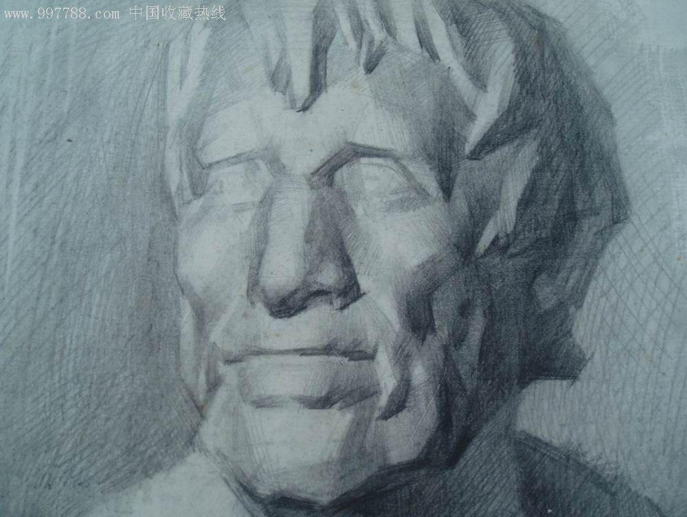 人物素描,素描/速写,铅笔画原画,人物,八十年代(20世纪),8开_第2张