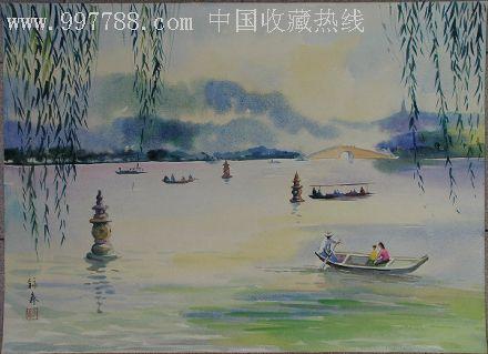 海派水彩畫名家【李詠森】西湖風景之二